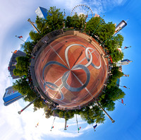 """Little Planet"" of the Fountain of Rings in Atlanta, GA."